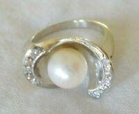 Vintage 14k White Gold Pearl Diamond Halo Ring - 5.6 grms, Size 6.25, 0.12 ctw