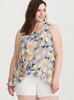 EUC Torrid Retro Lilac Lemon Floral Georgette Ruffle Hi-Lo Tank Top Plus Size 1x