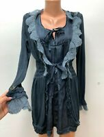 ELISA CAVALETTI Club size L / XL Long Jumper Sweater Knitted Tunic Dress Blue