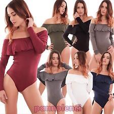 Body donna maglia top scollo carmen gitana ruches sottogiacca hot nuovo AS-2440