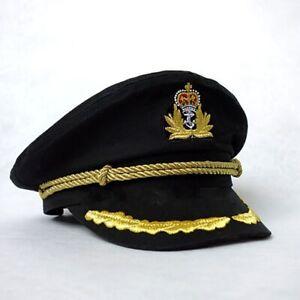 Men Sailor Captain Black Hat Navy Uniform Women Halloween Costume Party Cosplay