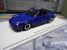 PORSCHE 911 Carrera 3.2 Cabriolet Cabrio G-Modell 1989 blau bl spark Resin  1:43