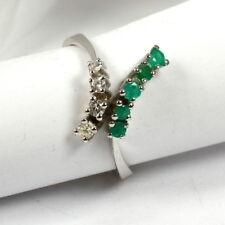 Ausgefallener Ring in 585 Weißgold mit Smaragd und Brillant
