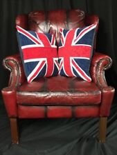 1 Wonderful Handmade Chesterfield Style Leather  Wingback Armchair Oxblood Red