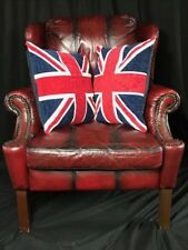 Luxury Handmade Chesterfield Style Leather Wingback Armchair Oxblood Xmas Red