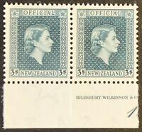 New Zealand. Official 3 Shilling Definitive Stamps. SG O167. 1954. MNH. #AF96