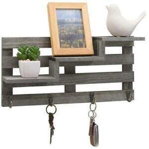 3-Tier Stair Vintage Gray Wood Entryway Wall-Mounted Display Shelf w/ Key Hooks