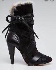 Isabel Marant Neta Black Suede & Rabbit Fur Boots EU SZ 40 $1295