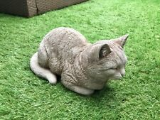 STONE GARDEN LARGE LAYING SLEEPING CAT KITTEN MEMORIAL STATUE GIFT ORNAMENT