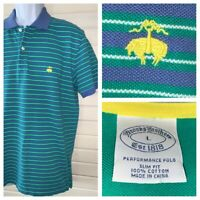 Brooks Brothers LARGE Performance Polo Shirt Slim Fit Blue Green Stripe Cotton