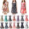 Women Boho Sleeveless Floral Chiffon Summer Beach Short Mini Dress Sundress