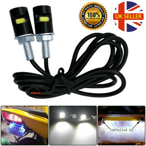 2x UNIVERSAL LED NUMBER PLATE TAIL TIDY LIGHTs CAR MOTORCYCLE BOLT LIGHT LAMP UK