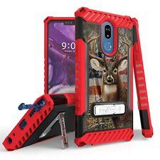 For LG Stylo 5 / 5+  Tri Shield Armor Kickstand  Case US Flag Deer