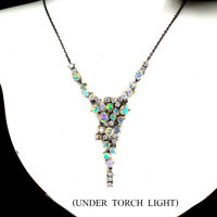 Unheated Round Fire Opal Rainbow Full Flash 5mm Cz 925 Sterling Silver Necklace