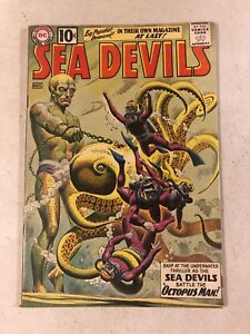 Sea Devils #1  RUSS HEATH OCTOPUS MAN super cover 1961 DC EMERALD WHALE