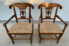 Pair of Baker Milling Road Neoclassical Woven Seat Arm Chairs Made in Spain