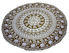 "INDIAN 72""  ROUND PRINTED COTTON TABLE COVER ANIMAL  CLOTH DINNG DECOR ART"