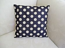 Navy Blue & White  Polka Dot Cotton Blend Cushion Cover 43cm Approx. FREEPOST