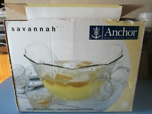 Anchor Hocking Savannah  Complete Punch Bowl Set Glass Glassware service for 8
