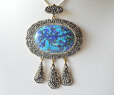Turquoise Lapis Mosaic Pendant Marcasite Sterling Silver Handmade Exclusive 925
