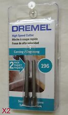"""Dremel 196 Carving & Shaping Cutter 7/32"""", 1/8"""" Shank (A 2-pack) ( Lot of 2 )"""