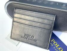New Men's Polo Ralph Lauren Smooth Black Leather Card Holder