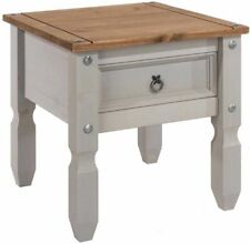 Premium CORONA Grey Washed Lamp Table Distressed Waxed Pine Finish Solid Wood
