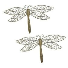 Large Gold Glitter Rattan Dragonfly Metal Wall Art Wall Hanging in a set of 2