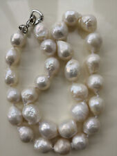 """12-14mm Natural South Sea White Baroque Pearl Necklace 18"""" AAA"""