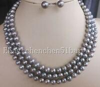 echte 7-8 grau Süßwasser Perlenkette 50 Zoll Ohrstecker