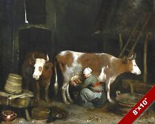 MAID MILKING A COW IN A BARN EVERYDAY ART DAILY LIFE PAINTING REAL CANVAS PRINT