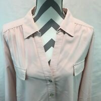 CHICOS Size 3 Blouse Roll Tab Long Sleeves Pockets Button Front Ruched Pink AA20