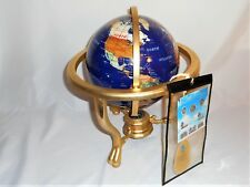 Pearl Gem Stone Globe with 30 semiprecious stones on brass stand with compass