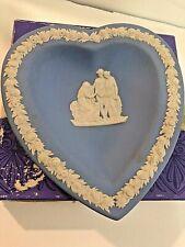 "Wedgwood Dish Tray Blue Heart Jasperware 4 1/2"" Dish Good Condition With Box"