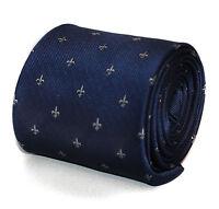 Navy Fleur De Lis Pattern Mens Tie by Frederick Thomas FT644
