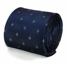 Navy Fleur De Lis Pattern Mens Tie by Frederick Thomas RRP £19.99 FT644