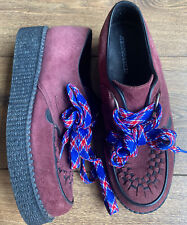 Underground Rockabilly 50s Burgundy Suede Brothel Creeper Platform Shoes 7 40