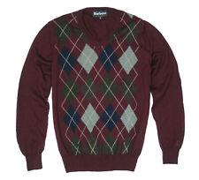 mens Jumper BARBOUR v-neck, Argyle pattern wool size S - Burgundy