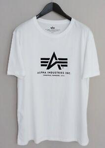 Hommes Alpha Industries T-Shirt Blanc Coton Col Rond XXL XMT46