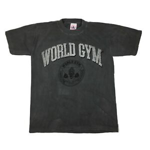 Vintage 90s World Gym T-Shirt Hardcore Training Made in USA Gray/Black Sz L