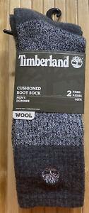 Timberland Cushioned Wool Blend Boot Socks 2 Pair Men's Gray OSFM