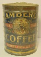 Old Vintage 1930s AMBERO COFFEE TIN GRAPHIC ONE POUND NEWBURYPORT MASSACHUSETTS