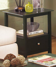 SET OF 2 Black Espresso End Side Table w Drawer Bedroom Night Stand Living Room