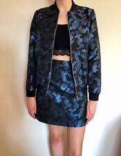 Miss Selfridge Women's Blue Camo Jacquard Coord Bomber Jacket & Skirt Size UK 6