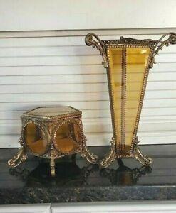 VTG/ANTIQUE ORMOLU FILIGREE GILT VASE & JEWELRY CASKET SET BEVELED AMBER GLASS