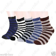 6 Pairs Mens Soft Ankle Quarter Crew Socks Cozy Fuzzy Winter Warm Stripe Slipper