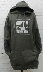 Rome Logo Pullover Hoodie Sweatshirt Men's Large Charcoal Gray New