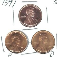 1971-D-P-S Three Uncirculated Lincoln Cent Coins San Francisco is Proof!