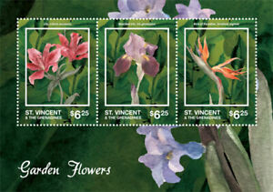 St. Vincent 2014 - Garden Flowers, Lily Bird of Paradise Sheet of 3 Stamps - MNH