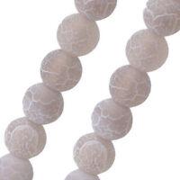 54 Natürliche Achat Perlen 6mm Frosted Grau Rund Edelsteine DIY R318#3